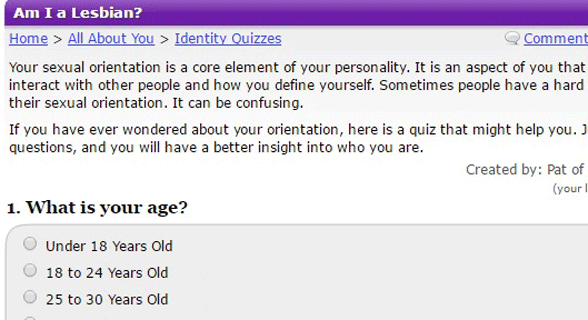 Screenshot of the GoToQuiz lesbian test