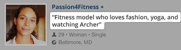 Photo of a dating profile example