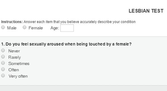 Screenshot of PsyMed's lesbian test