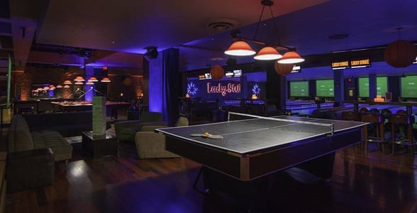 Photo of ping-pong tables at Lucky Strike