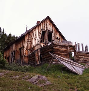 Photo of an old building in a ghost town