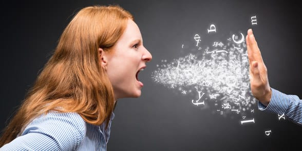 Photo of a woman yelling