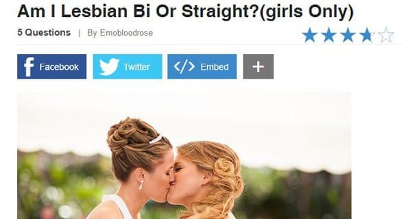 Screenshot of ProProfs' lesbian test