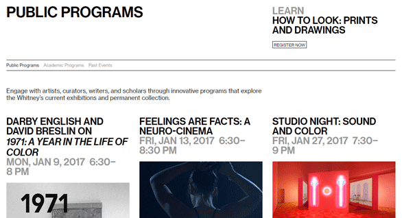 Photo of the Public Programs at the Whitney