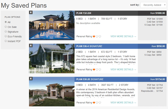 Screenshot of saved plans on HousePlans.com