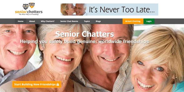 Screenshot of the SeniorChatters homepage