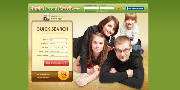 Screenshot of the SingleParentMatch homepage