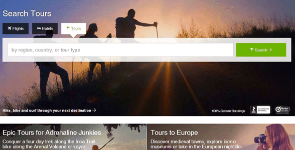 Screenshot of the StudentUniverse tours page