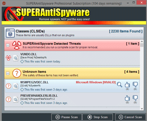 Screenshot of the SUPERAntiSpyware System Investigator