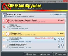 Screenshot of the SUPERAntiSpyware System Investigator