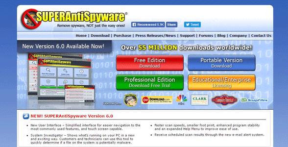 Screenshot of the SUPERAntiSpyware homepage