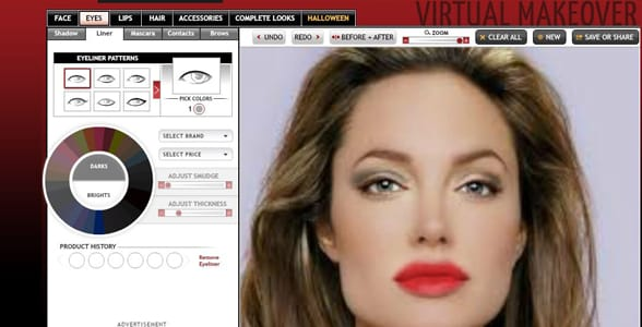 Screenshot of a TAAZ makeover