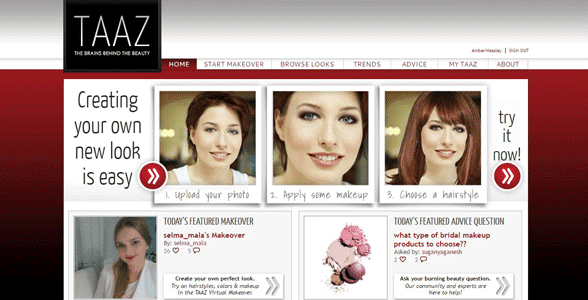 Screenshot of the TAAZ.com homepage