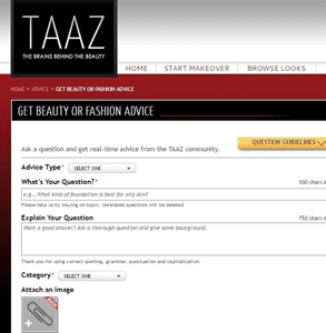 Screenshot of TAAZ's advice page