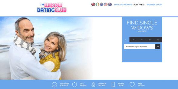 Screenshot of the Widow Dating Club homepage