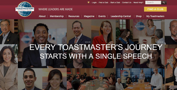 Photo of the Toastmasters homepage