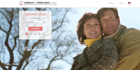 Screenshot of the Widows or Widowers homepage