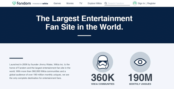 Screenshot of Wikia's Fandom homepage