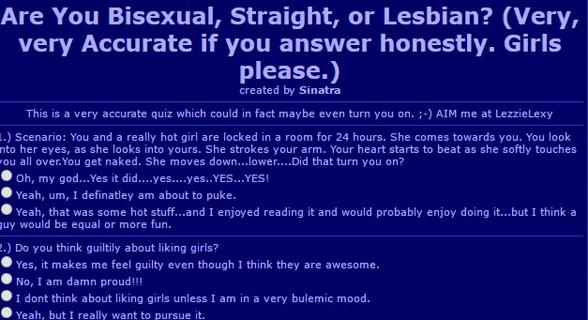 Screenshot of Zenhex's lesbian test