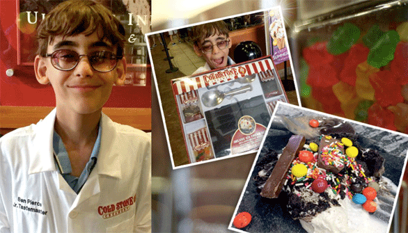 Collage of Ben's Cold Stone experience