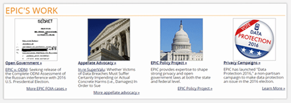 Screenshot of EPIC work examples