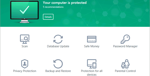 Screenshot of Kaspersky Lab Total Security's landing page
