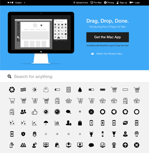 Screenshot of the Noun Project