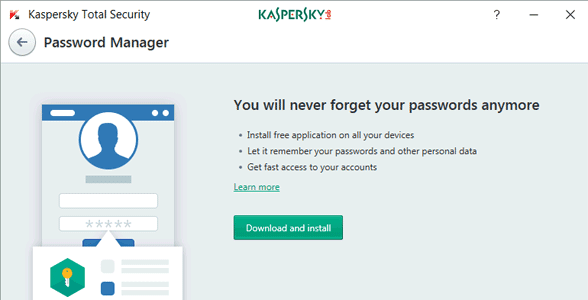 Screenshot of Kaspersky's Password Manager