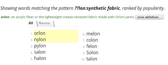 Screenshot of OneLook's Reverse Dictionary