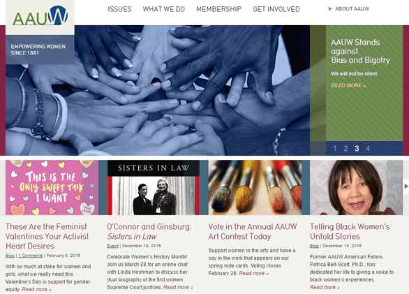 Screenshot of the AAUW homepage