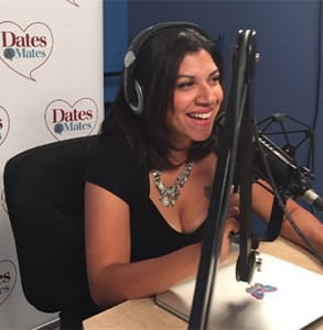 Photo of Damona Hoffman hosting her radio show