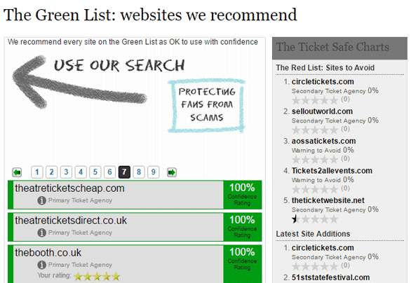 Screenshot of Safeconcerts' Green List