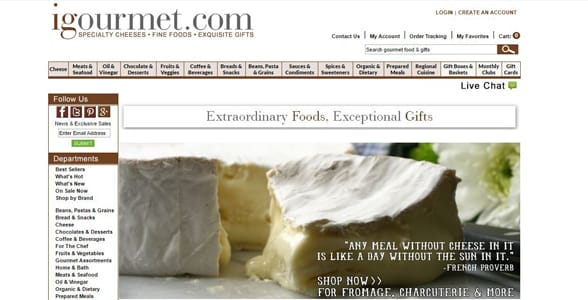 Screenshot of igourmet's homepage