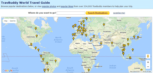 Screenshot of the TravBuddy World Travel Guide