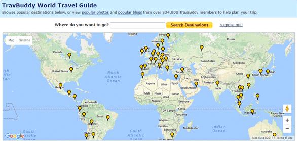 Screenshot of the TravBuddy World Travel Guide