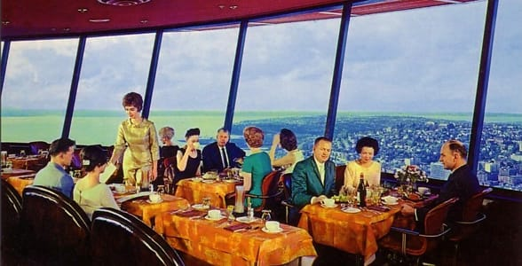 Concept art for the original restaurant at the Space Needle