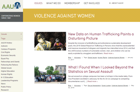 Screenshot of AAUW's Violence Against Women page