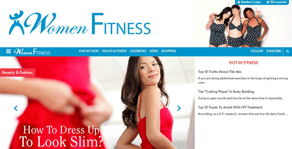 Screenshot of the Women Fitness website