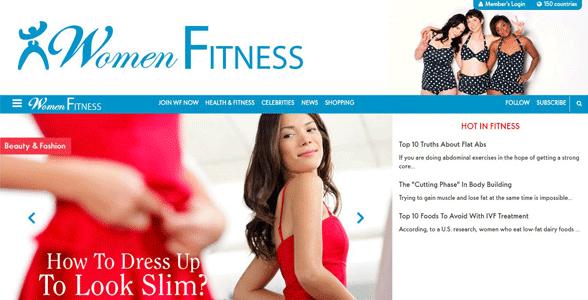 Screenshot of the Women Fitness website