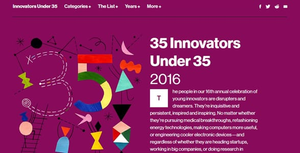 Screenshot of Technology Review's 35 Innovators Under 35 page