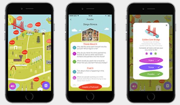 Screenshot of mobile phones displaying the Creative City — San Francisco app