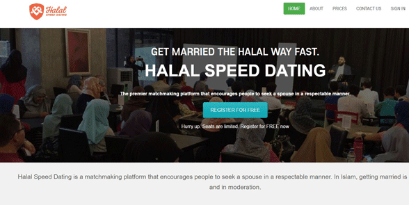 Screenshot of the Halal Speed Dating homepage