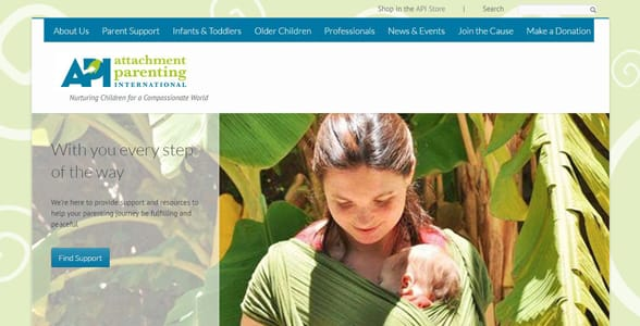 Screenshot of Attachment Parenting International's homepage