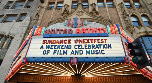 Photo of NEXT FEST on the marquee of The Theatre at Ace Hotel