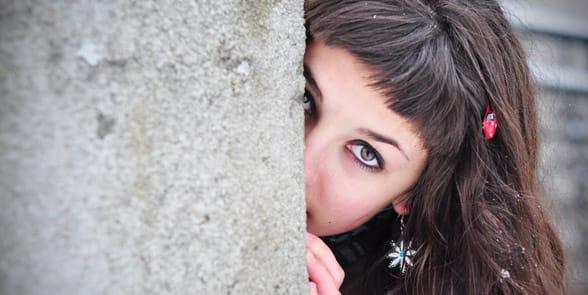 Photo of a woman hiding