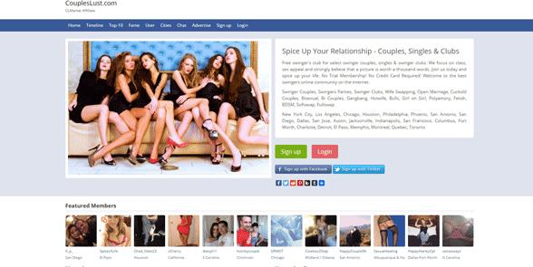 Screenshot of the CouplesLust homepage