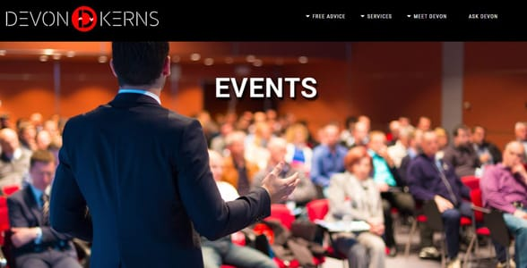 Screenshot of Devon's speaking engagements page