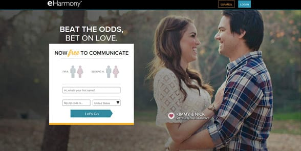 Screenshot of the eHarmony homepage