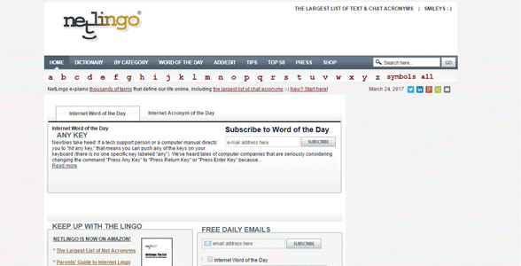 Screenshot of NetLingo's homepage