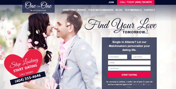 Screenshot of One on One Matchmaking's homepage